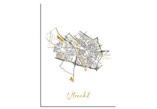 DesignClaud Utrecht Plattegrond Stadskaart poster met goudfolie bedrukking