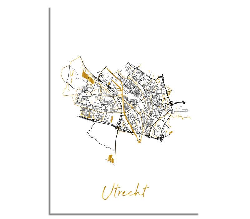 Utrecht Plattegrond Stadskaart poster met goudfolie bedrukking