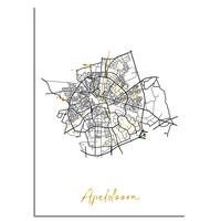 Apeldoorn Plattegrond Stadskaart poster met goudfolie bedrukking