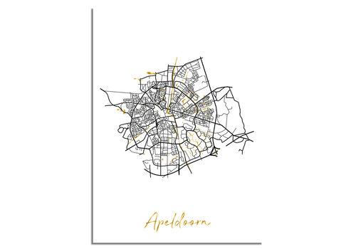 DesignClaud Apeldoorn Plattegrond Stadskaart poster met goudfolie bedrukking