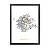 Apeldoorn Karte Stadtplan Poster mit Goldfoliendruck