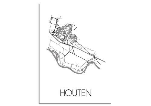 DesignClaud Houten Plattegrond poster