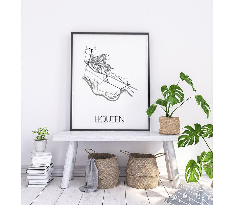 Houten Plattegrond poster