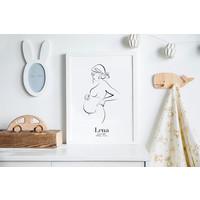 Geboorteposter Zwangere buik - 9 maanden poster Kraamcadeau