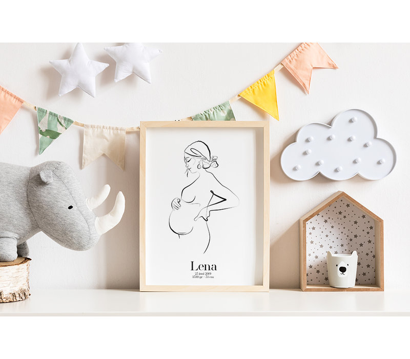 Geburtsposter Schwangerer Bauch - 9 Monate Poster