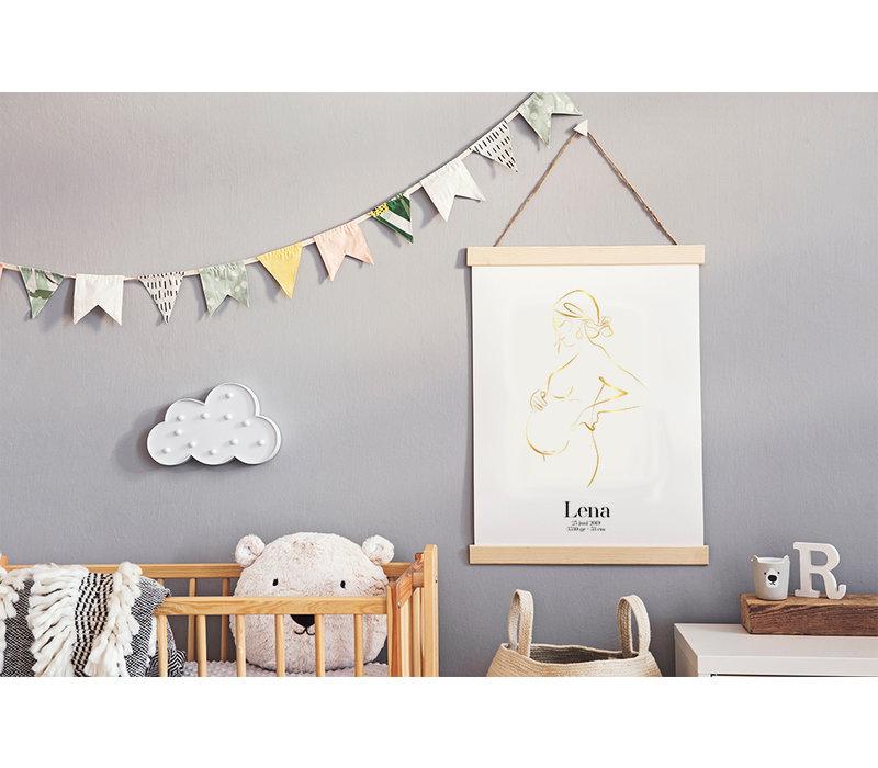 Geburtsposter Schwangerer Bauch - 9 Monate Poster - Goldfolie
