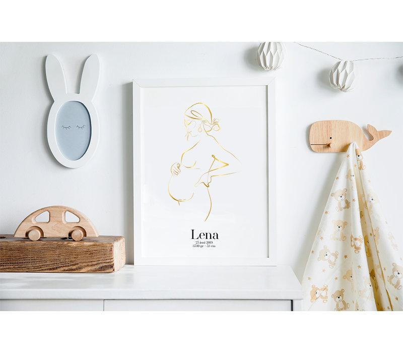 Geboorteposter Zwangere buik - 9 maanden poster – Goudfolie Kraamcadeau