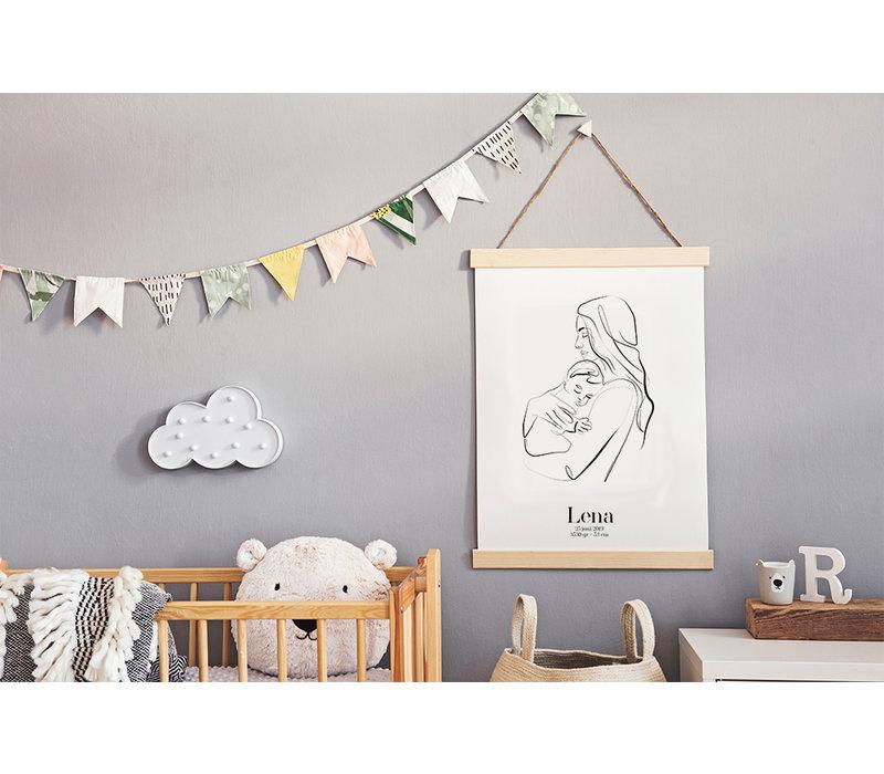 Geboorteposter Moeder en kind Kraamcadeau