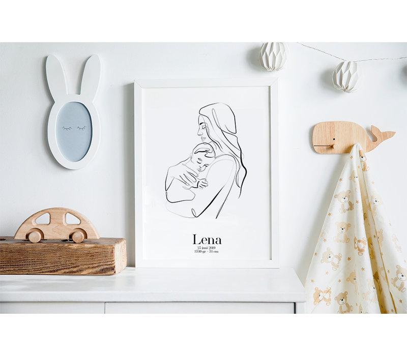 Geburtsposter Mutter und Kind