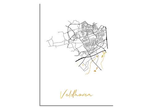 DesignClaud Veldhoven Plattegrond Stadskaart poster met goudfolie bedrukking