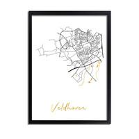 Veldhoven Karte Stadtplan Poster mit Goldfoliendruck