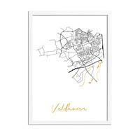 Veldhoven Plattegrond Stadskaart poster met goudfolie bedrukking