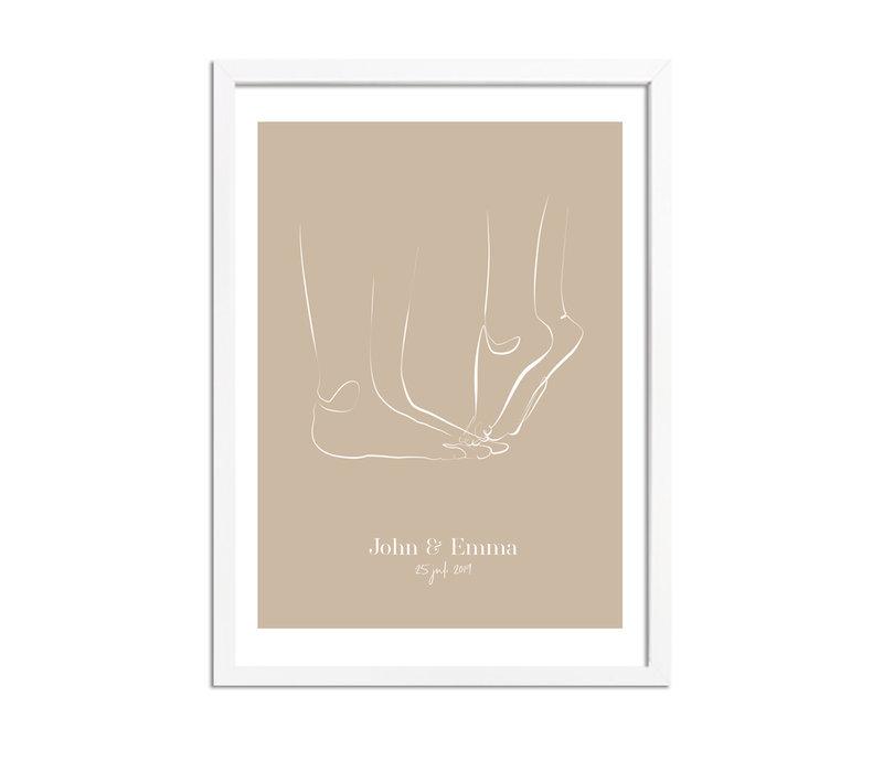 Huwelijksposter Bruidspaar - Huwelijkscadeau gepersonaliseerd - Naturel