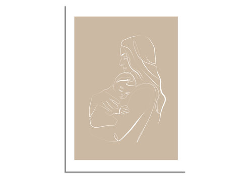 DesignClaud Poster Frau mit Baby natürliche - Minimalismus