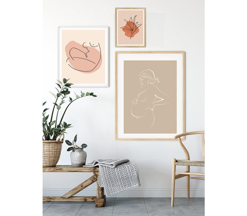 Poster Zwangere vrouw naturel - minimalisme