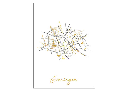 DesignClaud Groningen Karte Stadtplan Poster mit Goldfoliendruck