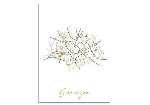 DesignClaud Groningen Plattegrond Stadskaart poster met goudfolie bedrukking