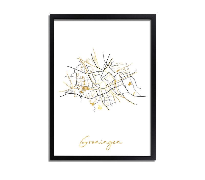 Groningen Plattegrond Stadskaart poster met goudfolie bedrukking