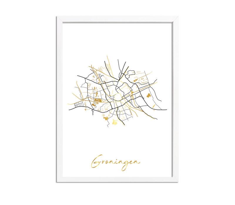 Groningen Karte Stadtplan Poster mit Goldfoliendruck