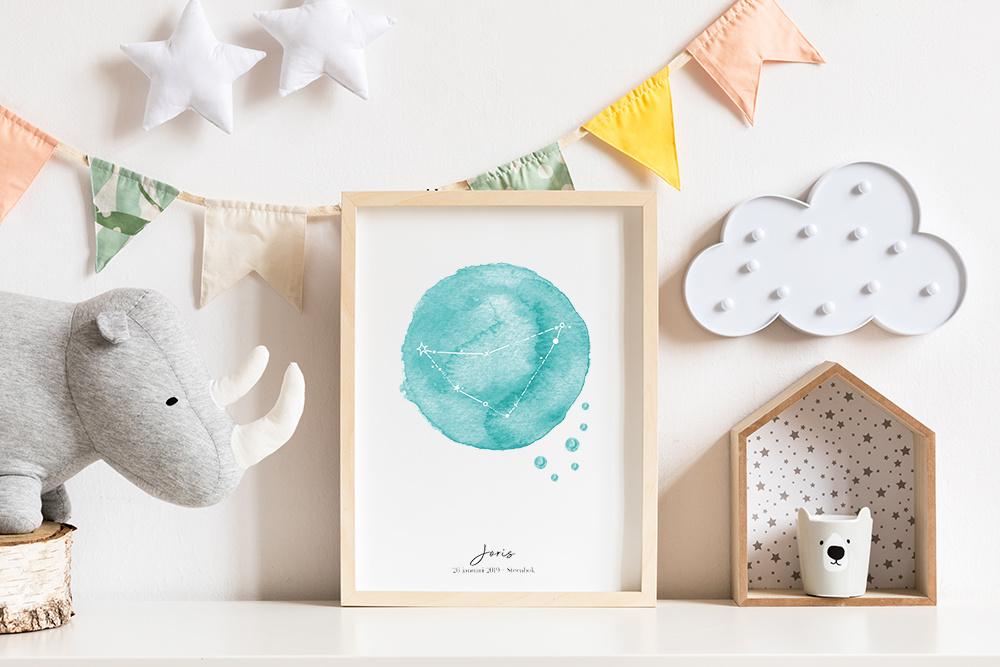 Sterrenbeeld-geboorteposter-sterrenstand-foliedruk