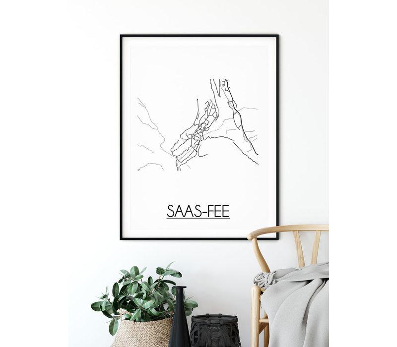 Saas-Fee Plattegrond poster