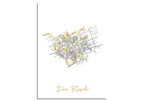 DesignClaud Den Bosch Plattegrond Stadskaart poster met goudfolie bedrukking