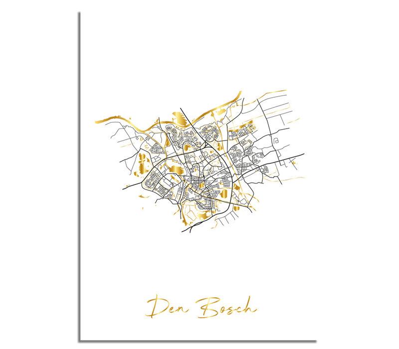 Den Bosch Karte Stadtplan Poster mit Goldfoliendruck