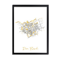 Den Bosch Plattegrond Stadskaart poster met goudfolie bedrukking