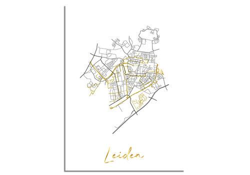 DesignClaud Leiden Plattegrond Stadskaart poster met goudfolie bedrukking