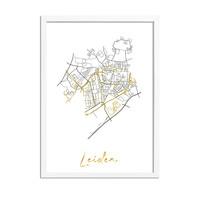 Leiden Karte Stadtplan Poster mit Goldfoliendruck