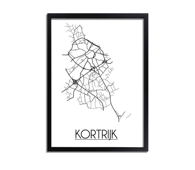 Kortrijk België Plattegrond poster