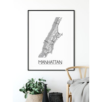 Manhattan NYC Plattegrond poster