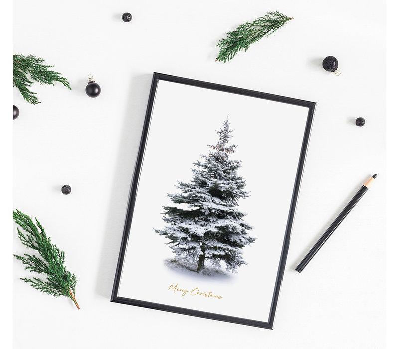 Kerstposter Merry Christmas Kerstboom - Goudfolie