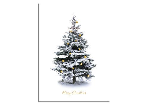 DesignClaud Weihnachtsposter Frohe Weihnachten Weihnachtsbaum - Gold Weihnachtskugeln
