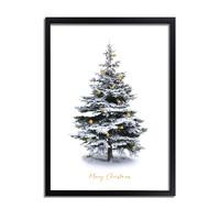 Kerstposter Merry Christmas Kerstboom - Goudfolie kerstballen