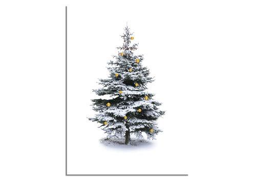 DesignClaud Weihnachtsposter Weihnachtsbaum Gold Weihnachtskugeln