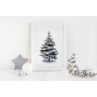 Kerstposter Kerstboom Goudfolie kerstballen