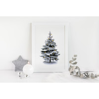 Weihnachtsposter Weihnachtsbaum Gold Weihnachtskugeln