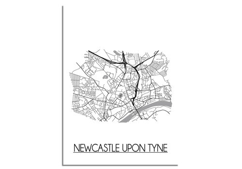 DesignClaud Newcastle upon Tyne Stadtplan-poster
