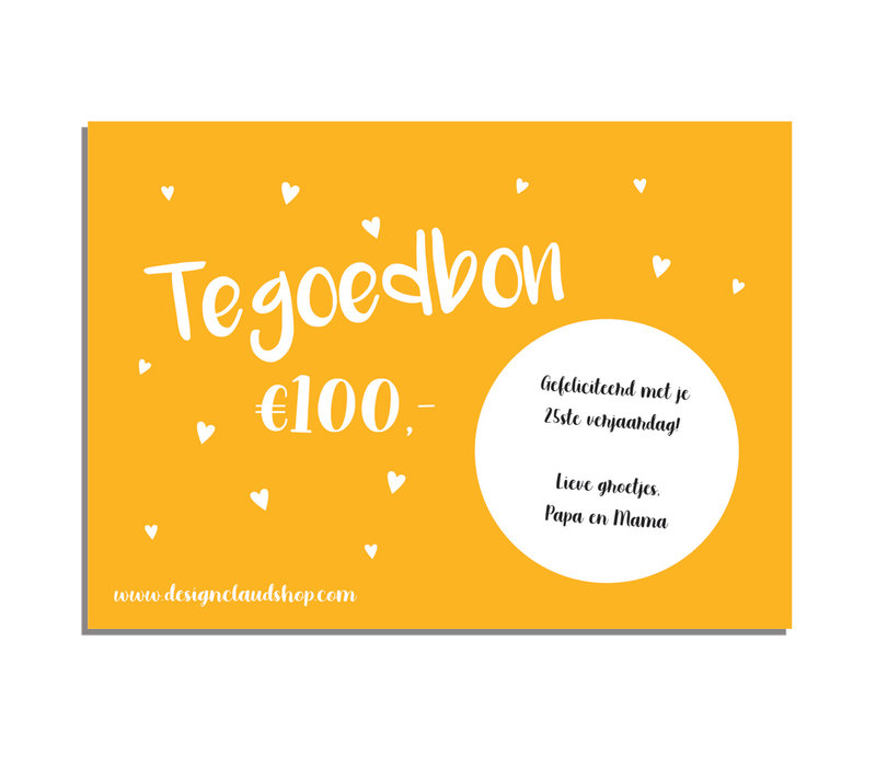 Cadeaubon DesignClaudShop 100 euro - Per post