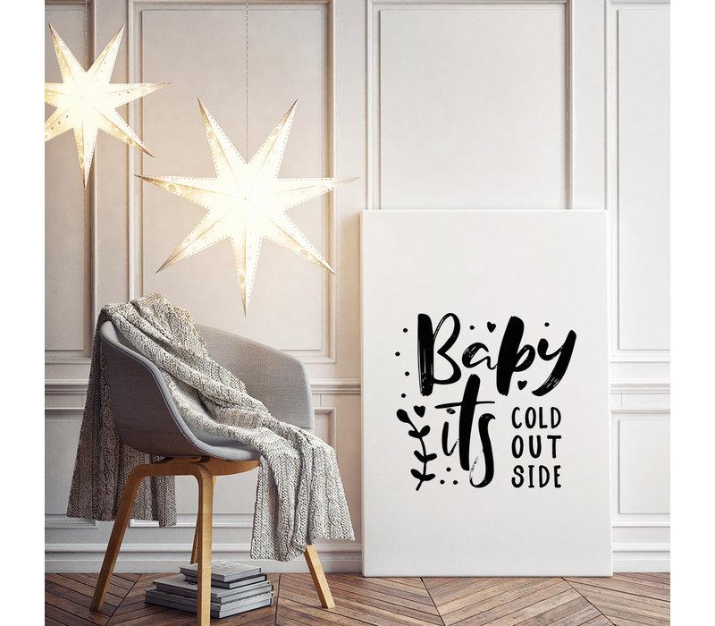 Kerstposter Baby it's cold outside - Kerstdecoratie Zwart wit