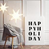 Kerstposter Happy Holiday - Kerstdecoratie Zwart wit