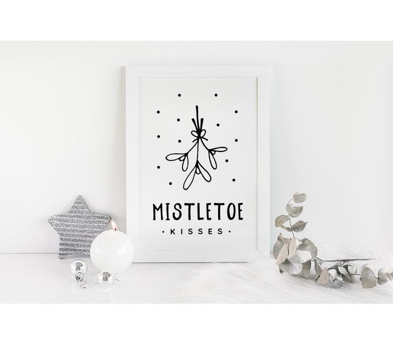 Kerstposter Mistletoe - Kerstdecoratie Zwart wit