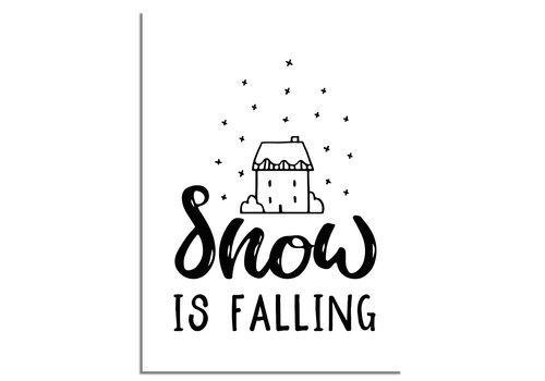 DesignClaud Kerstposter Snow is falling - Kerstdecoratie Zwart wit
