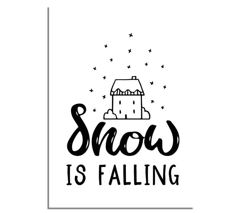 Kerstposter Snow is falling - Kerstdecoratie Zwart wit