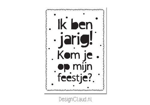 DesignClaud Setje Uitnodiging Kinderfeestje - Zwart wit  - 20 stuks