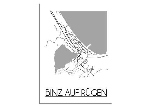 DesignClaud Binz auf Rügen Plattegrond poster