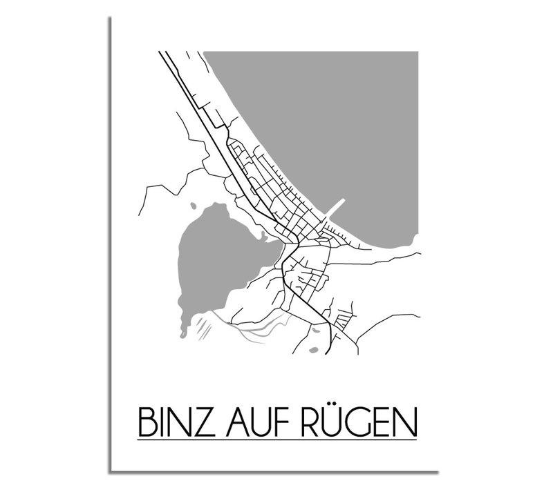 Binz auf Rügen Plattegrond poster