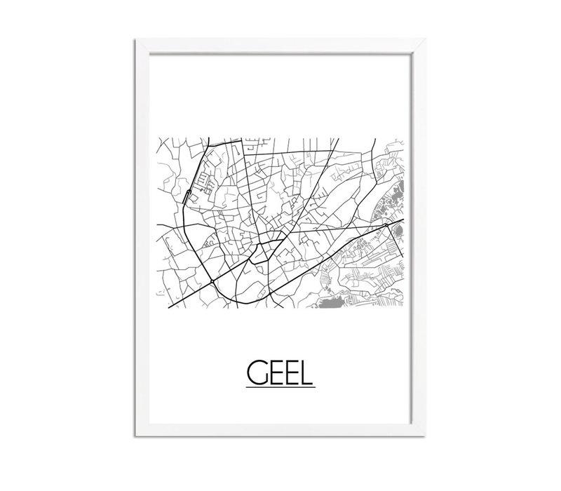 Geel België Plattegrond poster