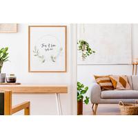 Huwelijksposter Krans eucalyptus - Huwelijkscadeau gepersonaliseerd